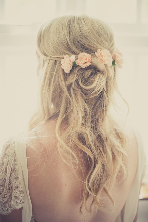 Long Wavy Wedding Hairstyle With Flowers