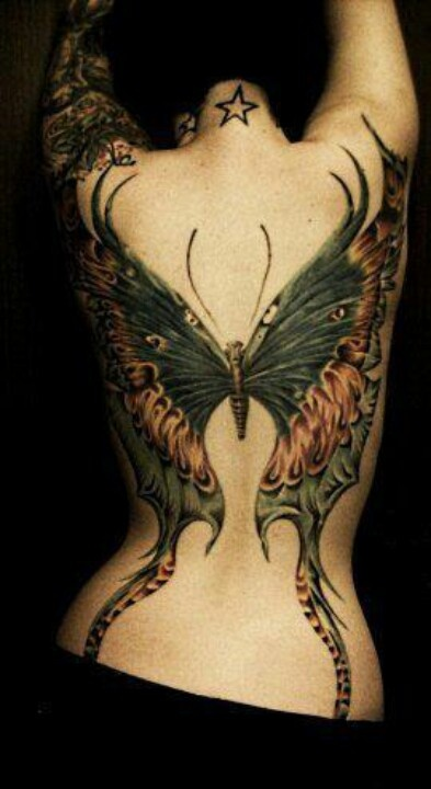 Magnificent Butterfly Back Tattoo