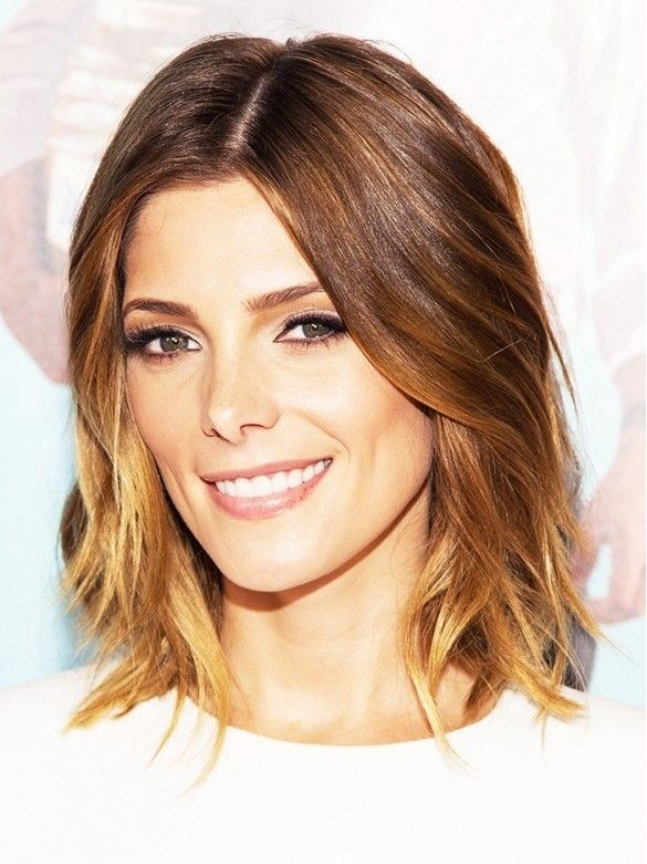 Medium Length Haircut with Subtle Waves at Ends