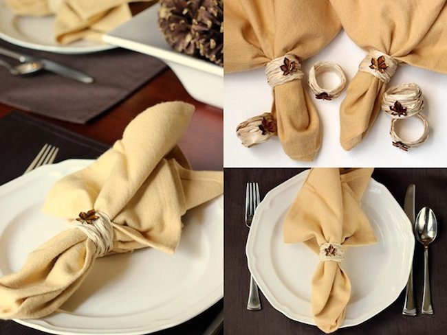 Napkin Rings with Leaf