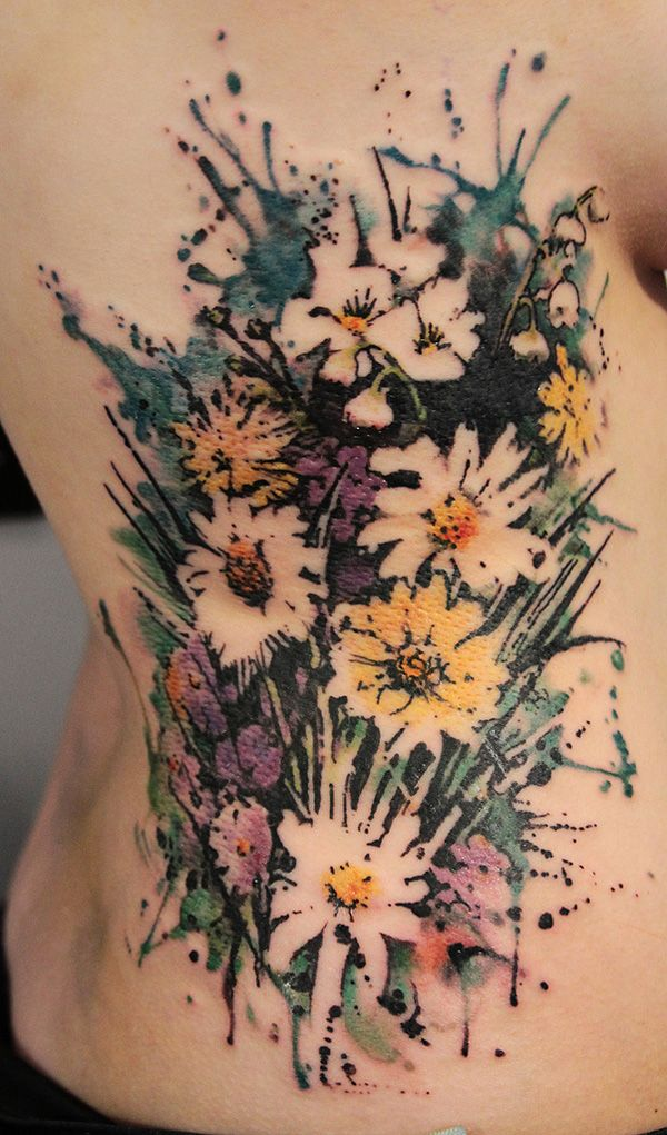 No Line Watercolor Tattoo