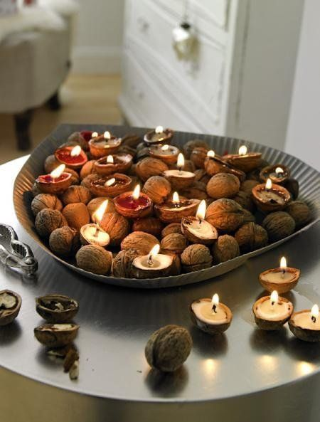 Nut Shell Candle Holders