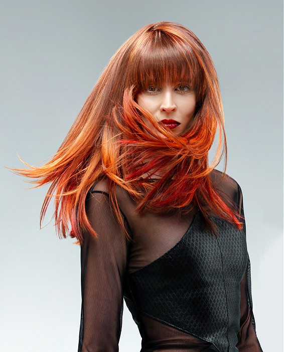 Orange Red Straight Haircut with Blunt Bangs