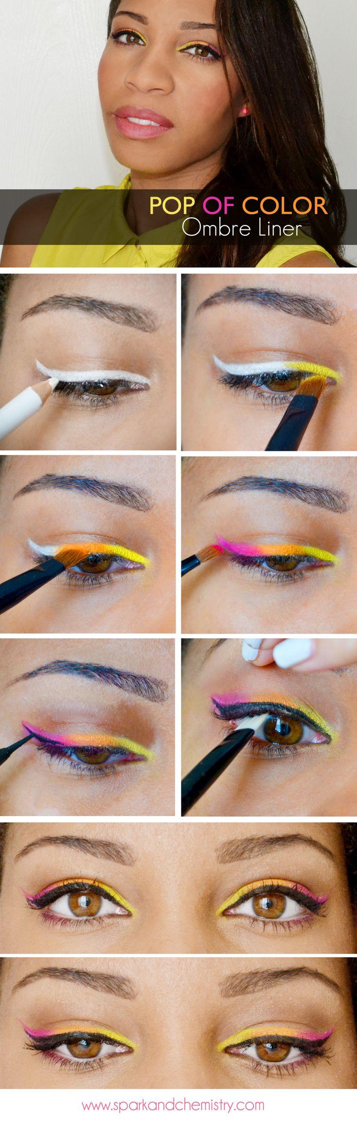 Orange and Pink Ombre Eyeliner