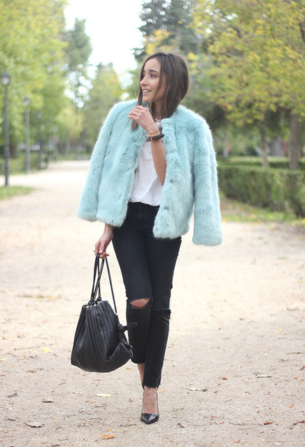 Pastel Fur Coat Outfit Idea