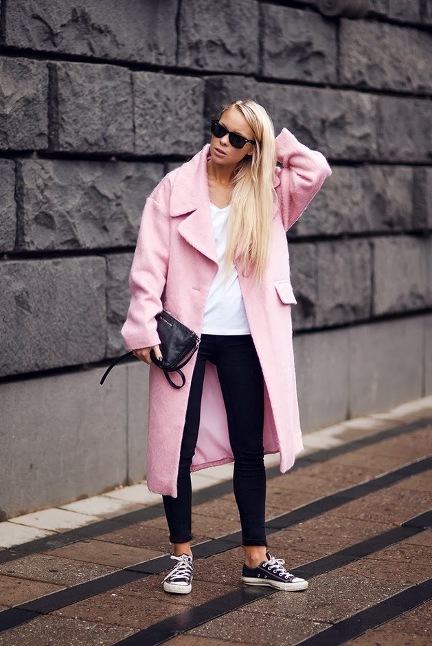 Pink Long Coat Outfit for 2015