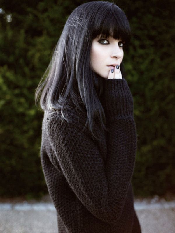 Pretty Black Straight Hairstyle With Bangs
