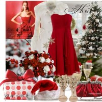 Pretty Red and White Outfit Idea for Christmas Party