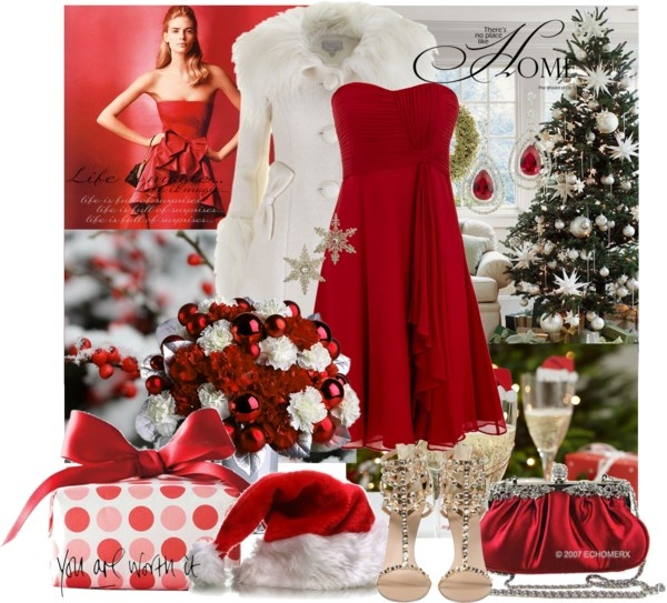 Christmas Outfits Ideas For Parties Part - 26: Pretty Red And White Outfit Idea For Christmas Party