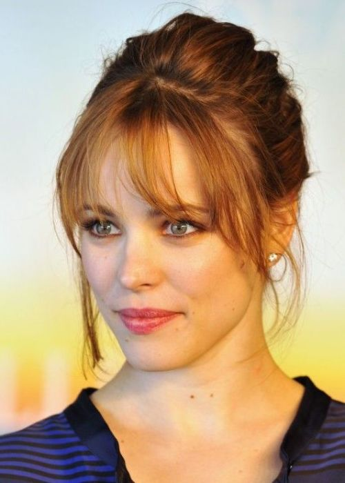 Pretty Updo Hairstyle with Wispy Bangs