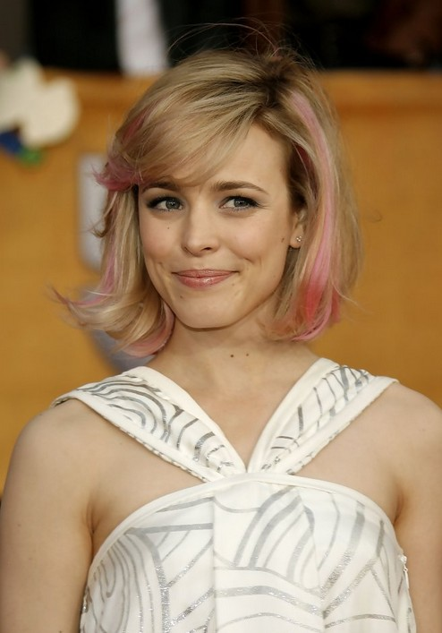 Rachel McAdams Short Pink Blonde Bob Hairstyle with Bangs