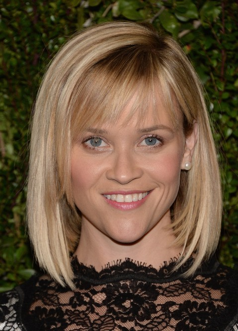 Reese Witherspoon Short Blunt Bob Haircut with Bangs for Women