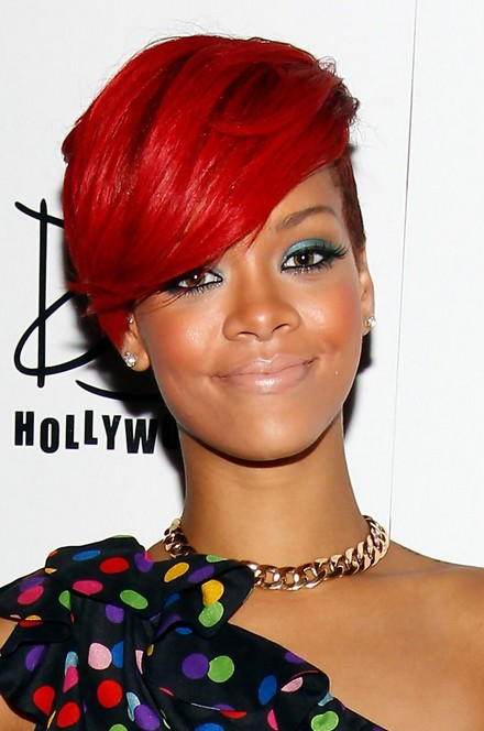 Rihanna Short Red Side Part Haircut for Black Women