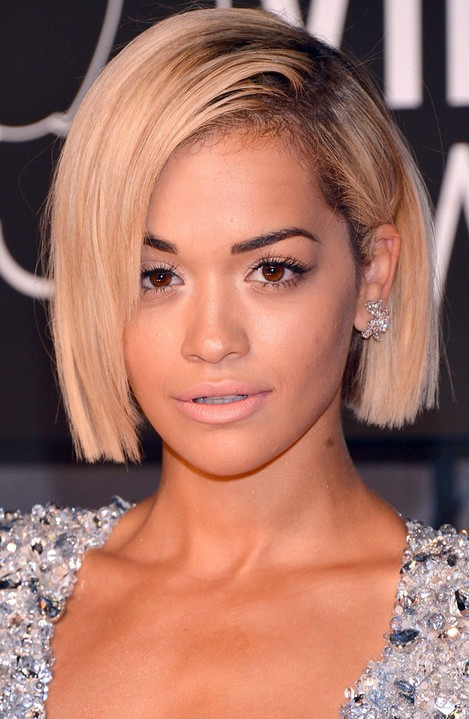Rita Ora Short Hairstyles Smooth blunt Bob Cut for 2015