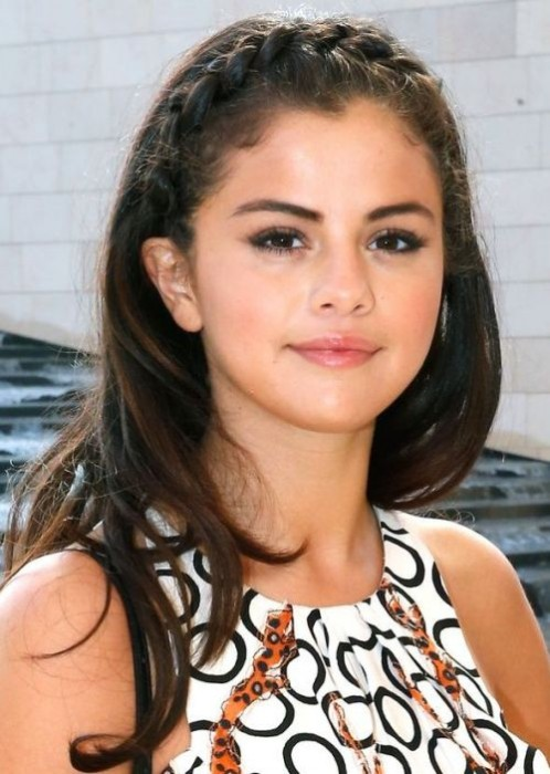 Selena Gomez Braided Half Up Half Down Hairstyle