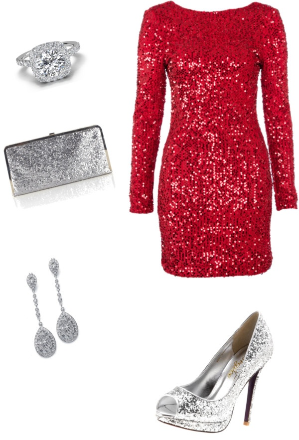 Sequined Hot Red Dress for 2015 Christmas Party