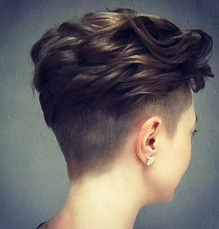 Shaved Short Hair with Top Curls