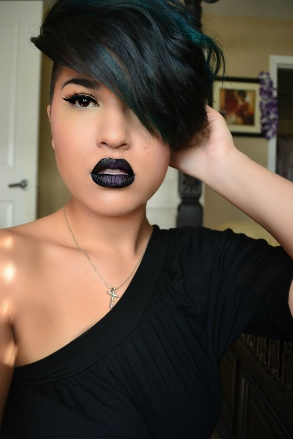 Short Black Pixie Hairstyle With Bangs
