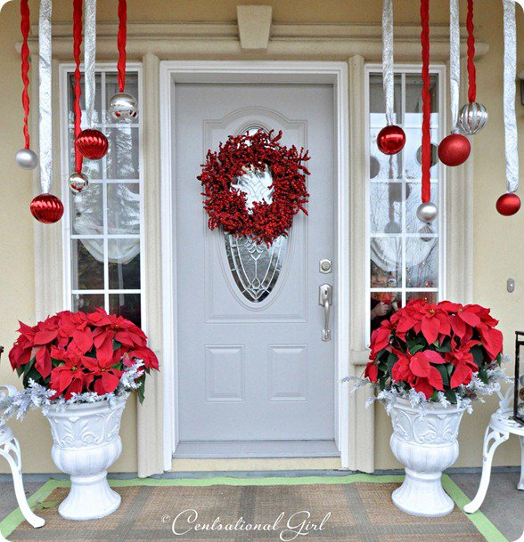 Christmas front porch decorating ideas pretty designs for Easy front porch christmas decorations