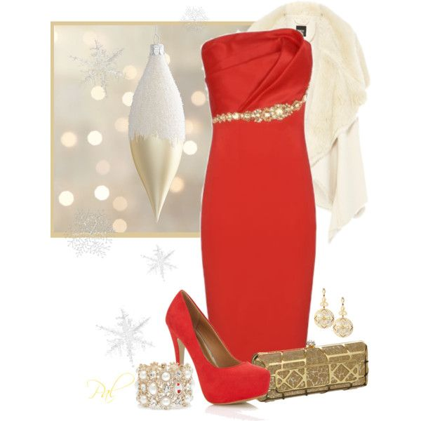 Simple Red Dress Outfit for 2015 Christmas