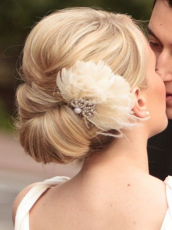 Simple Wedding Updo With Flower