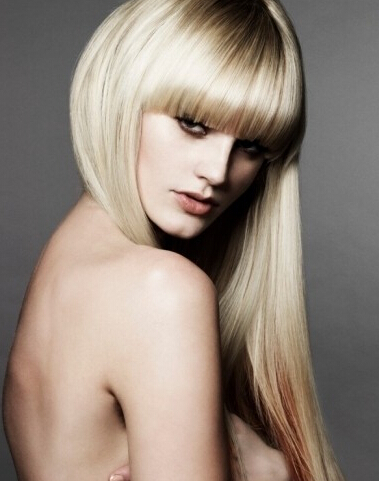 Sleek and Soft Straight Haircut with Bangs