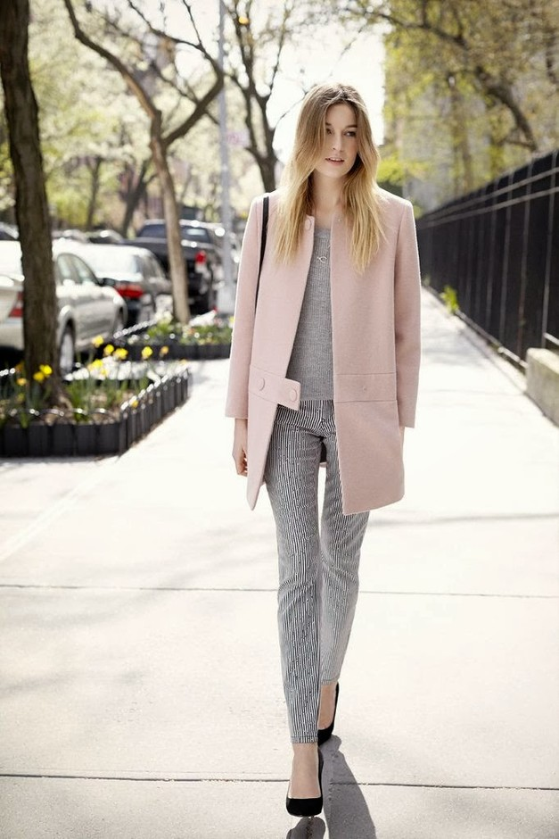 Stunning Grey Outfit Idea with Pastel Coat