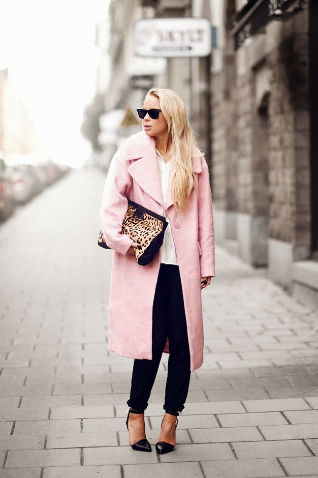 Stylish Pastel Pink Long Coat for 2015