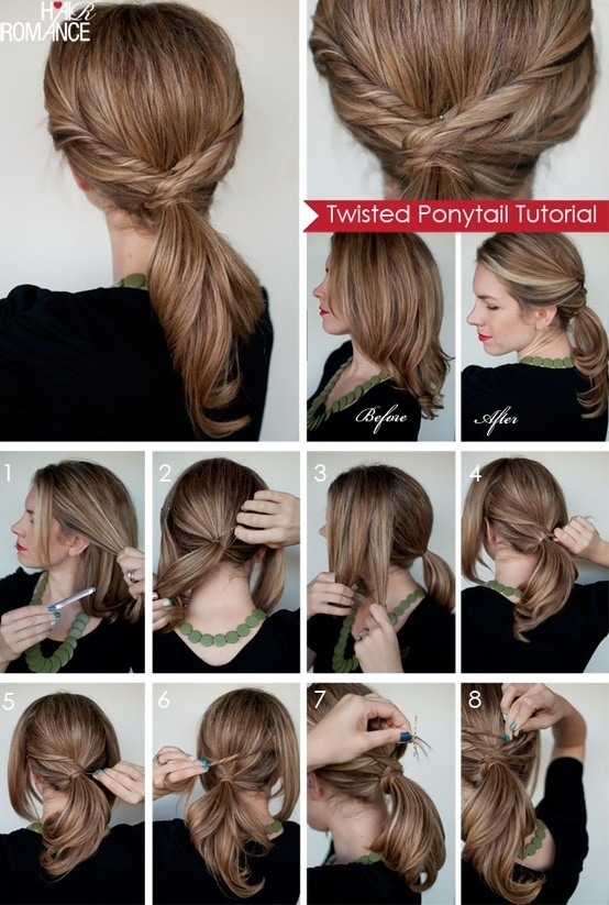Twisted Ponytail for Mid-length Hair