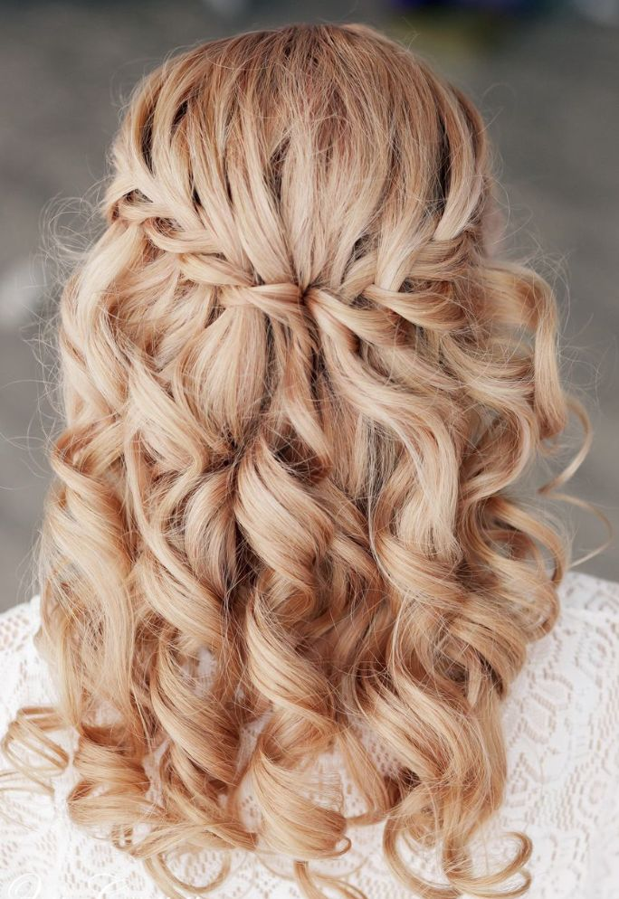 Waterfall Braid for Curly Wedding Hairstyles