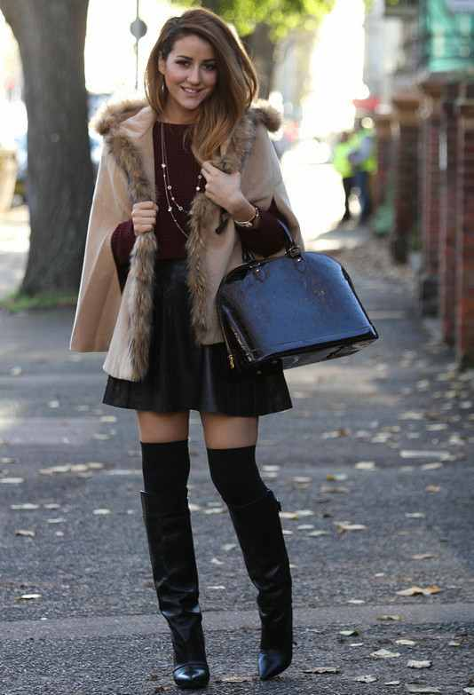 Winter Outfit Idea with Black Leather Skirt