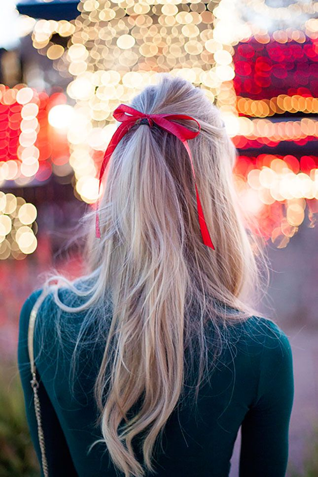 Blonde Hair with a Red Ribbon