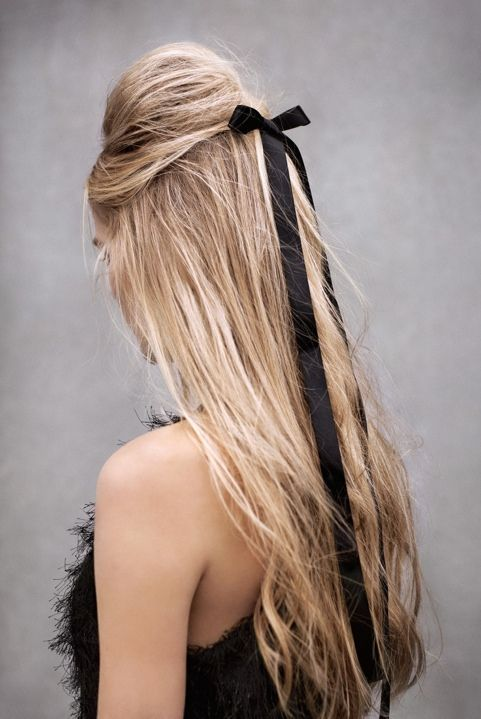 Breezy Hair with a Black Ribbon