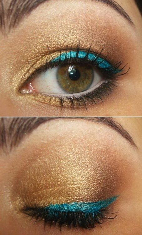 Bronze and Blue Makeup