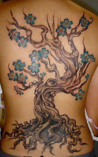 Cherry Tree Tattoo on Back