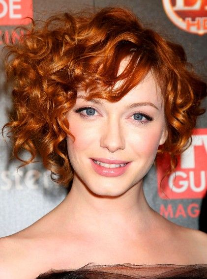 Christina Hendricks Curly Asymmetrical Bob