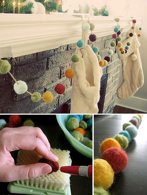 Diy pom pom garlands for christmas pretty designs for Decoratie bruiloft zelf maken