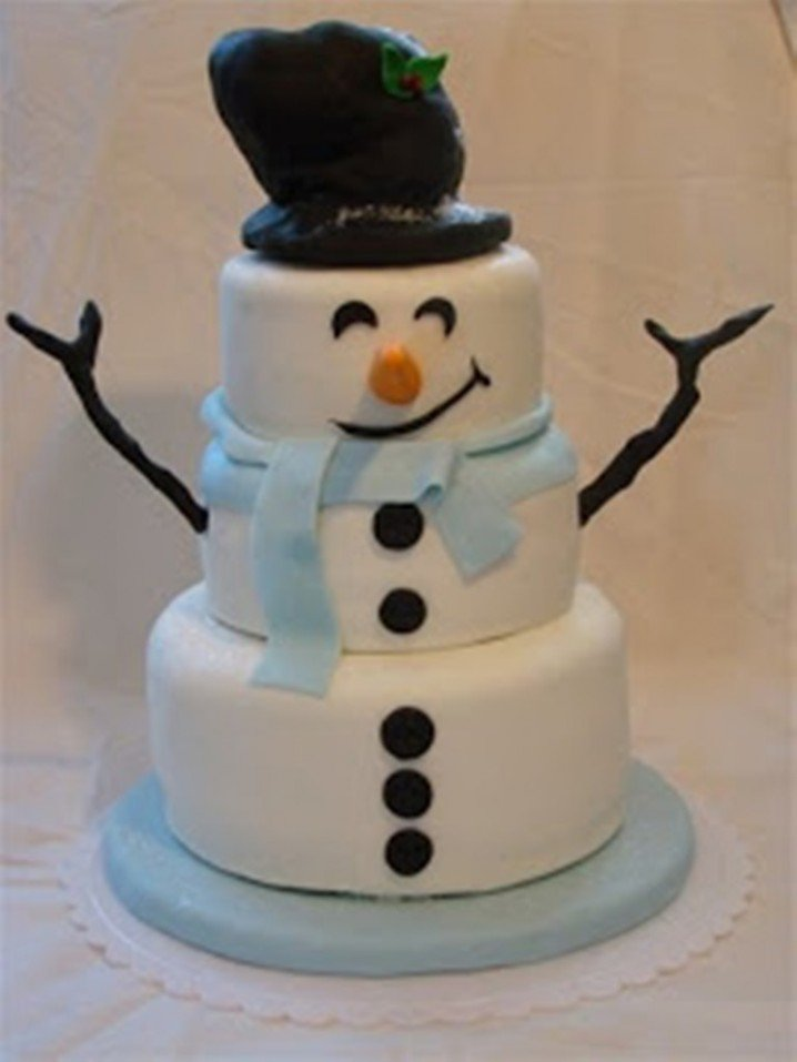 Pretty Snowman Cake Ideas For Christmas