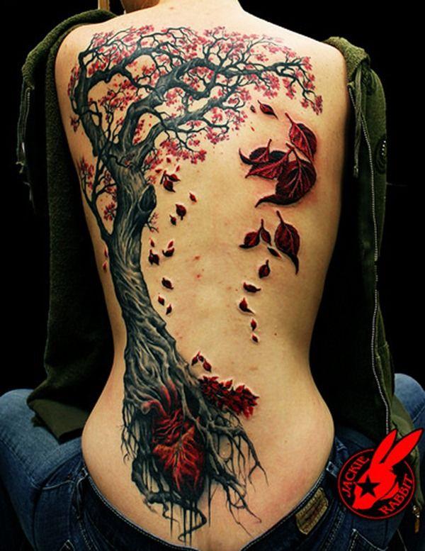 Fall Tree Tattoo on Back