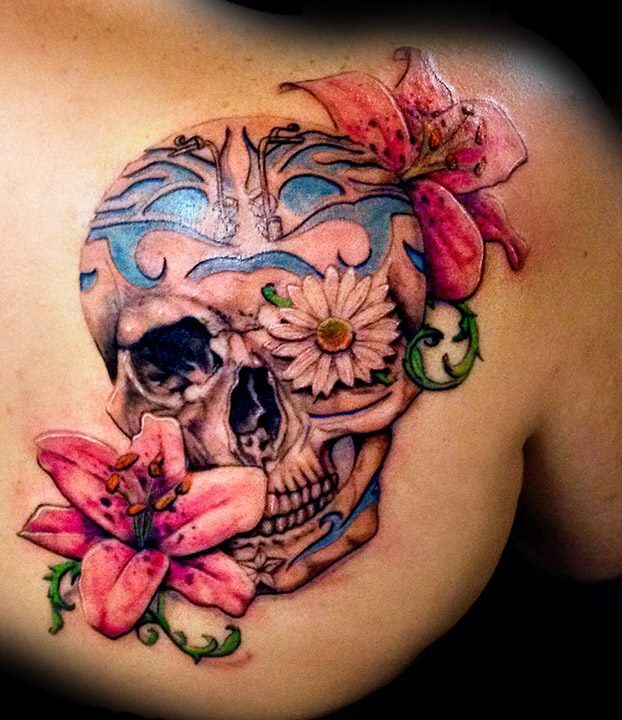 12 watercolor skull tattoo designs pretty designs. Black Bedroom Furniture Sets. Home Design Ideas