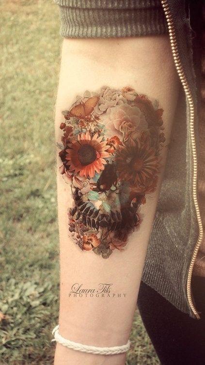 12 Watercolor Skull Tattoo Designs