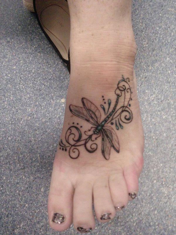 Instep Dragonfly Tattoo