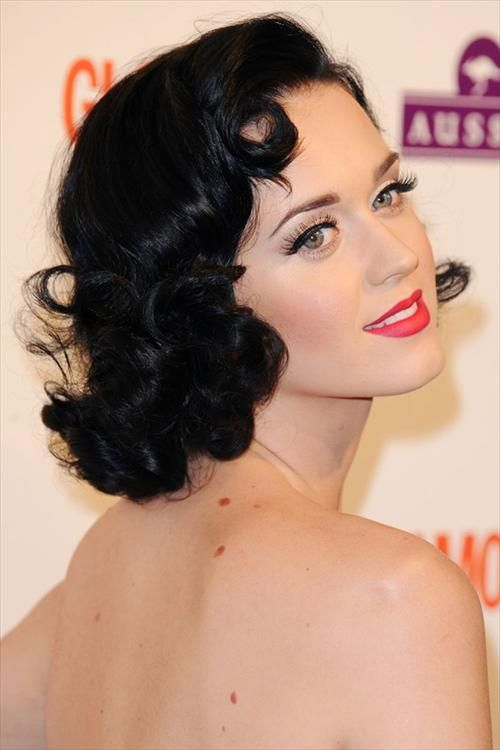 Katty Perry Curly Bob with Retro Rolls