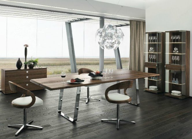 Modern Dining Room-Simple Wood Dining Table
