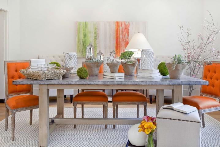 Orange Tufted Chairs