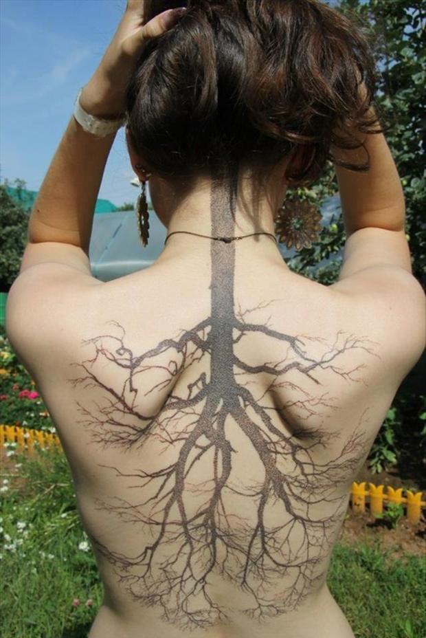 Reverse Tree Tattoo on Back