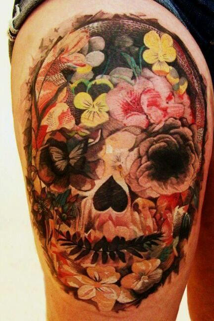12 Watercolor Skull Tattoo Designs