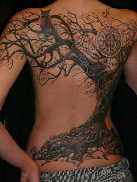 Tree and Compass Tattoo on Back