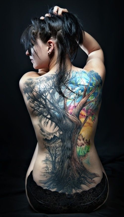 Watercolor Tree Tattoo on Back