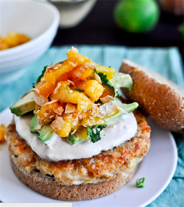 Shrimp Recipe  Shrimp Burgers with Chipotle Cream and Peach Salsa